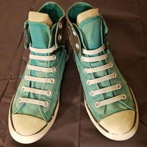 Green & Black Vintage Velco High Top Converse